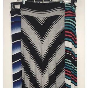 Bundle of 3, Size Medium Striped Maxi Skirts